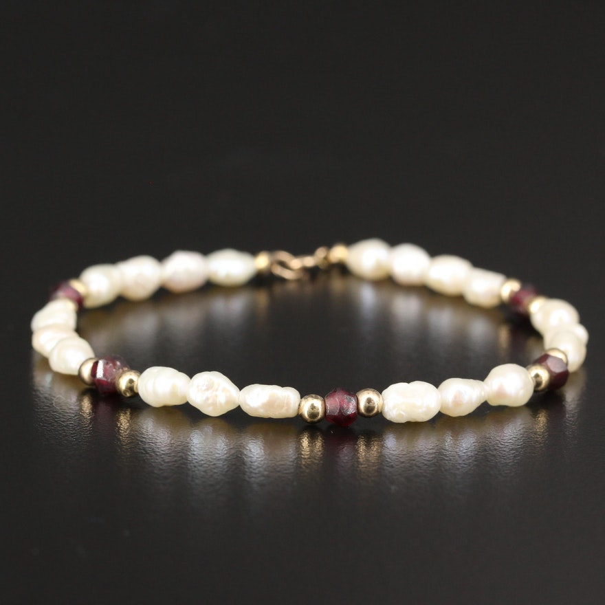 Semi-Baroque Pearl and Garnet Strand Bracelet with 14K Clasp and Beads