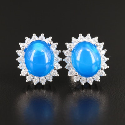 Sterling Silver Opal and Cubic Zirconia Button Earrings
