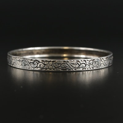 Sterling Silver Floral Engraved Bangle