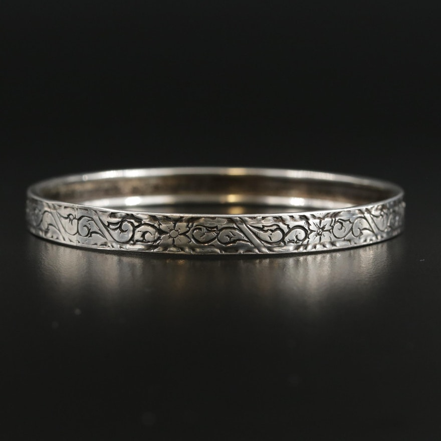 Sterling Silver Floral Engraved Bangle