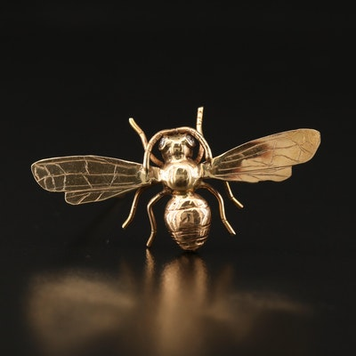 James Cleland 14K Diamond Bumblebee Brooch