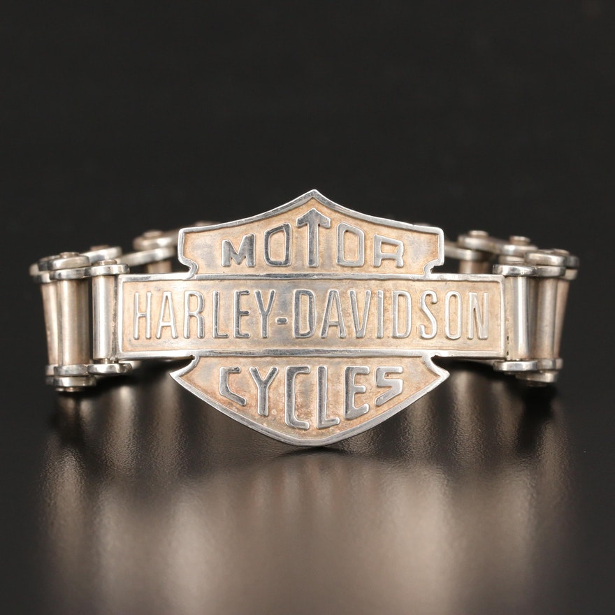 "Sterling ""Harley-Davidson"" Bike Chain Bracelet"