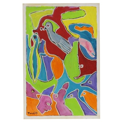 Charles Tullio Abstract Figural Acrylic Painting, Late 20th Century
