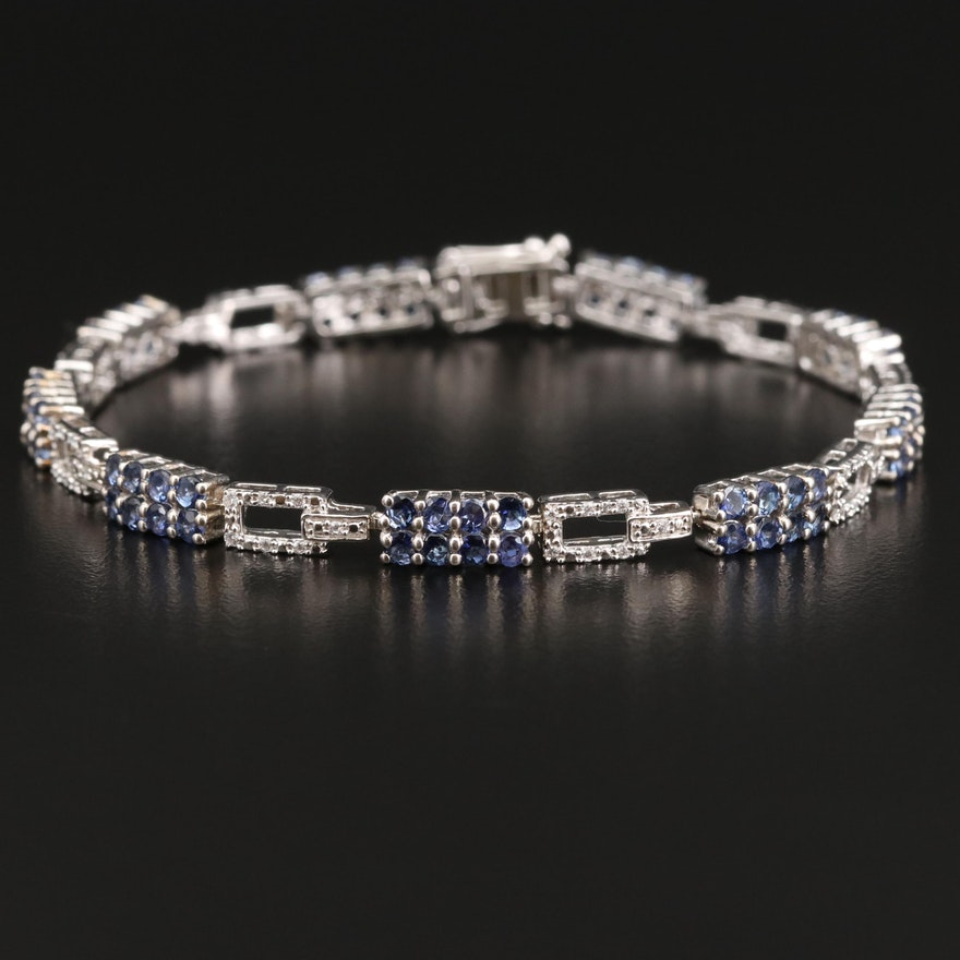 Sterling Silver Tanzanite and Cubic Zirconia Link Bracelet