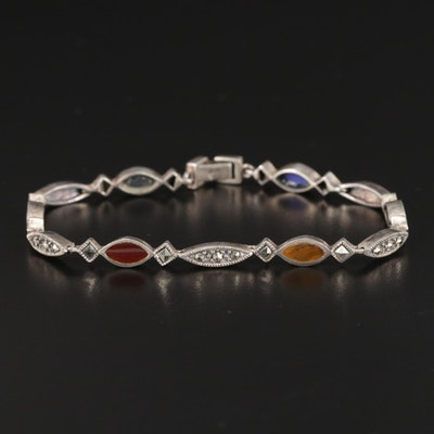 Sterling Silver Bracelet with Chalcedony, Tiger's Eye and Marcasite