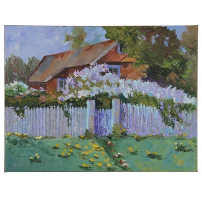 "James Baldoumas Oil Painting of House and Yard ""Overgrown"""