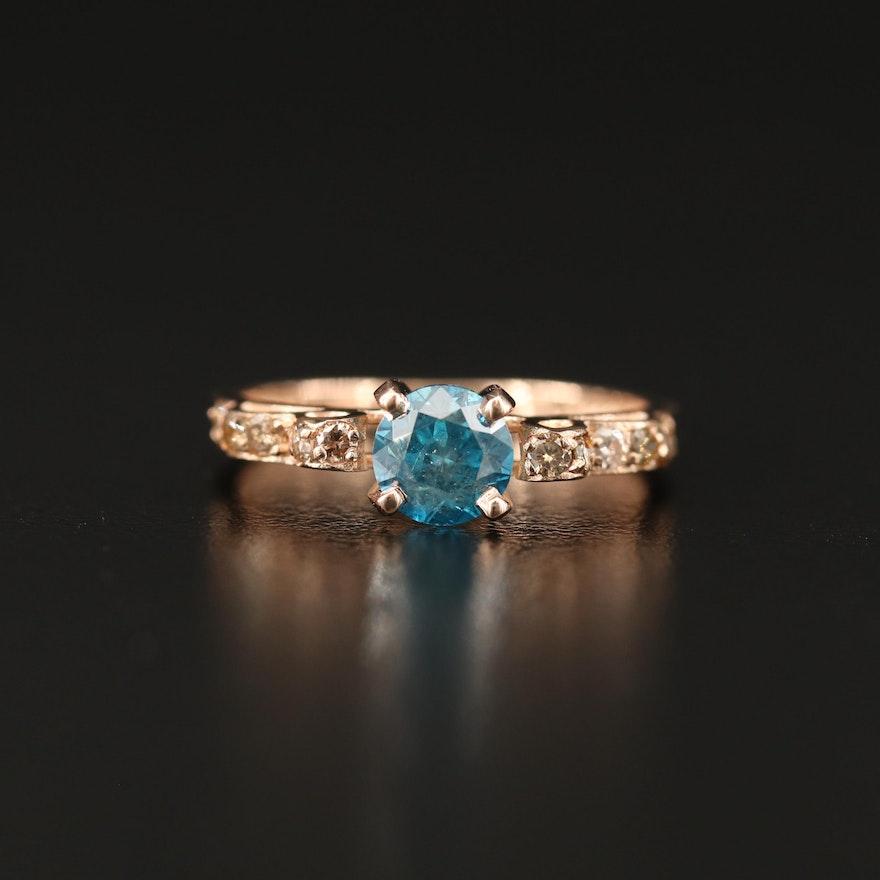 14K Rose Gold 1.00 CT Blue Diamond Ring