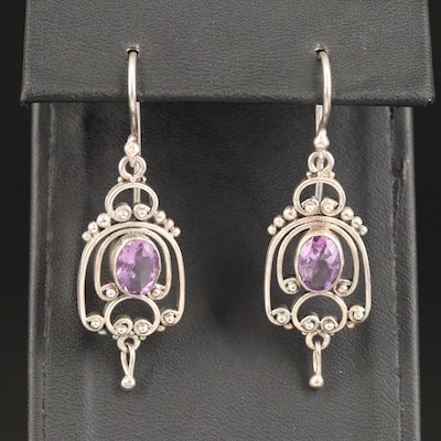 Amethyst Openwork Granulation Dangle Earrings
