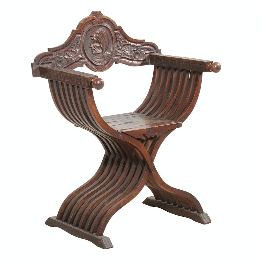 "Italian Renaissance Revival ""Dante"" Savonarola Chair, Antique"