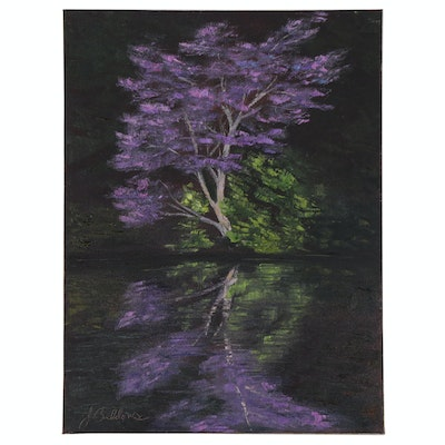 "James Baldoumas Landscape Oil Painting ""Redbud Tree"""