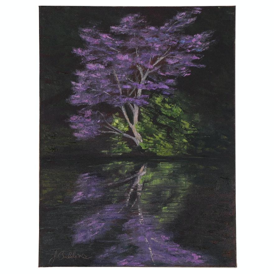 "James Baldoumas Landscape Oil Painting ""Redbud Tree"""