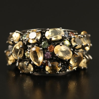 Matthew Campbell Laurenza Sterling Silver Citrine, Sapphire and Enamel Ring