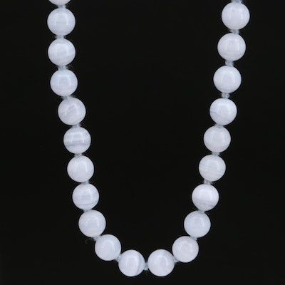 Knotted Agate Bead Necklace with 14K Clasp