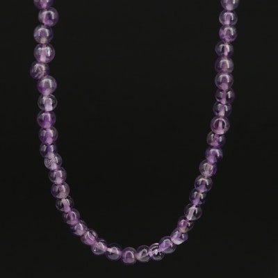 Single Strand Amethyst Beaded Necklace
