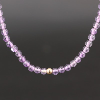 Amethyst Strand Necklace with 14K Clasp and Beads