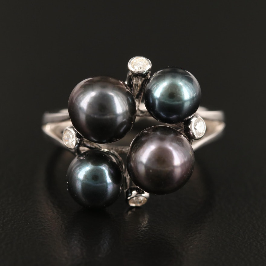 Sterling Pearl and Diamond Ring
