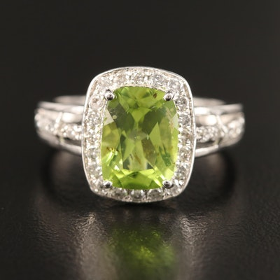 Sterling Peridot and Diamond Halo Ring