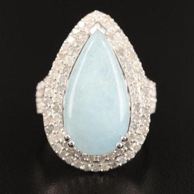 Sterling Aquamarine and Diamond Ring