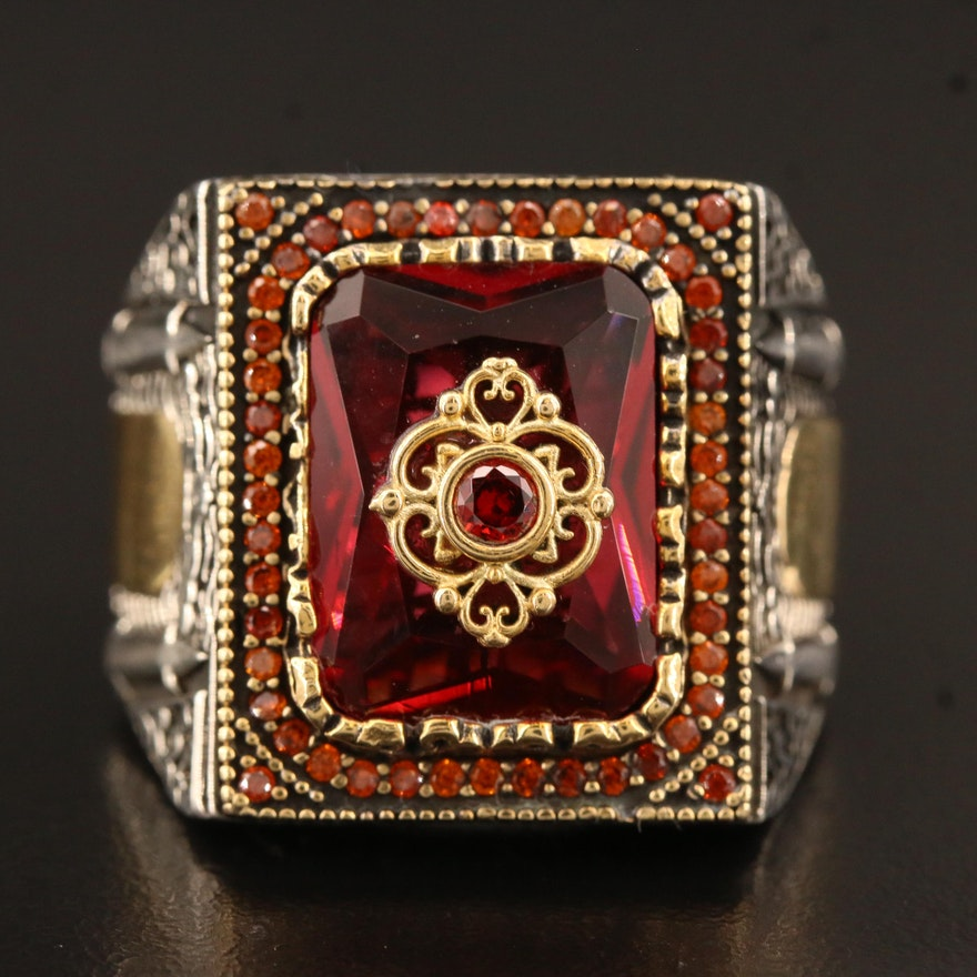 Turkish Inspired Sterling Silver Ring Featuring Glass, Garnet and Cubic Zirconia