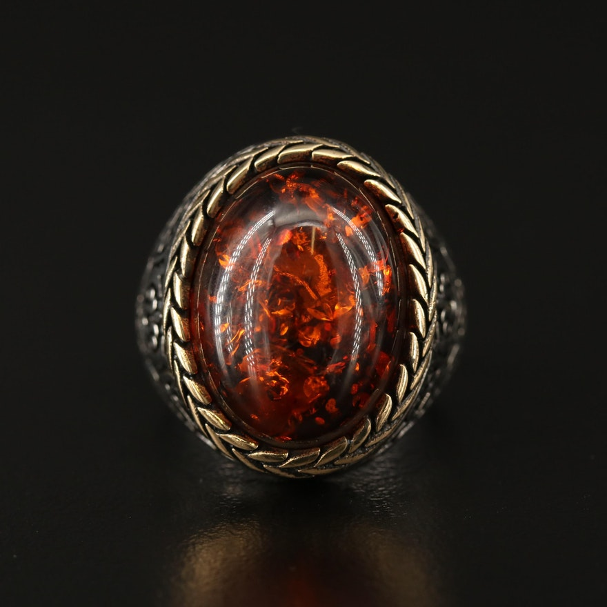 Turkish Inspired Sterling Silver Faux Amber Dome Ring