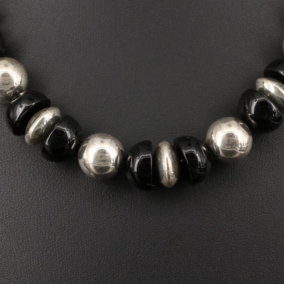 Sterling Black Onyx Beaded Necklace