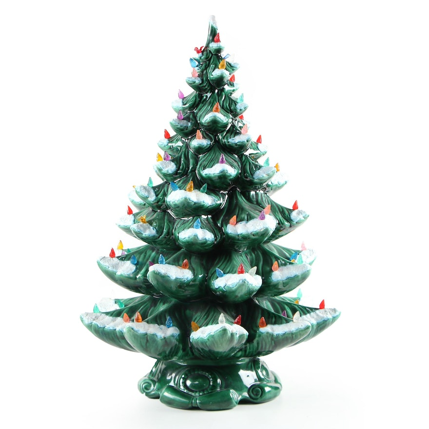 Clearbrook Pottery Ceramic Light-Up Musical Christmas Tree, Late 20th Century