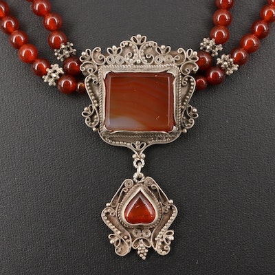 Sterling Silver Beaded Necklace with Filigree Agate and Carnelian Pendant