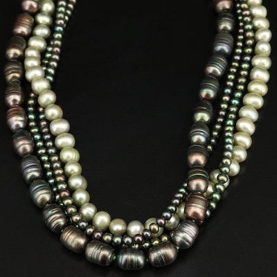 Hand Knotted Multi-Strand Pearl Necklace with Sterling Clasp