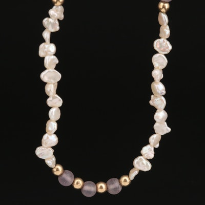 14K Amethyst and Baroque Pearl Endless Strand Necklace