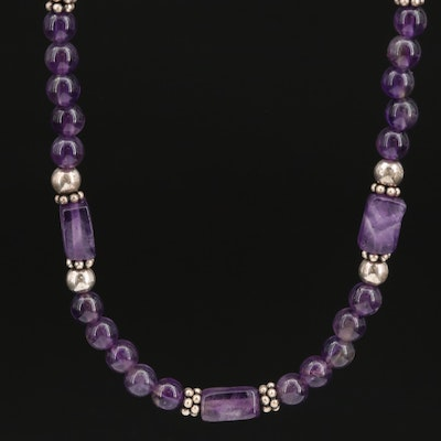 Sterling Silver Amethyst Beaded Necklace