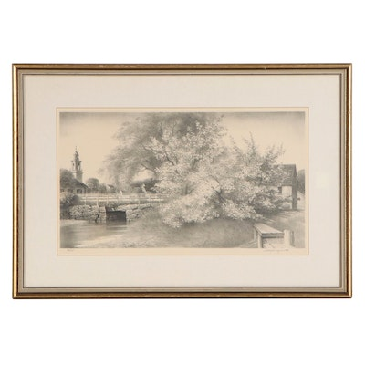 Stow Wengenroth Lithograph of Village Scene