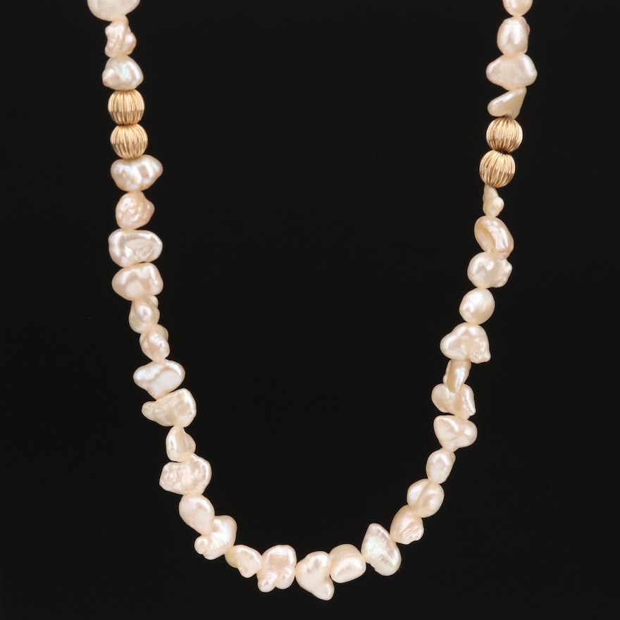 Endless Pearl Necklace with 14K Ribbed Beads