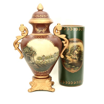 Paint-Decorated Neoclassical Style Metal Urn and Umbrella Stand