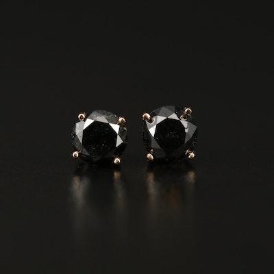 14K Rose Gold 1.62 CTW Black Diamond Stud Earrings