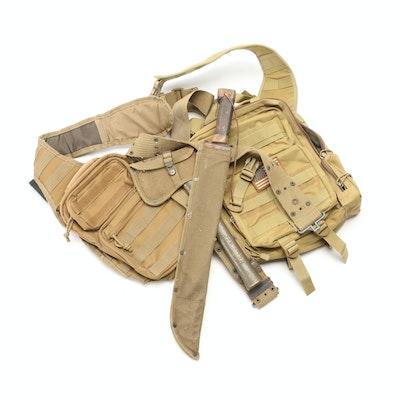 US Military Tactical Slingback Packs, Webbing Belt with Machete, Hatchet, 1942