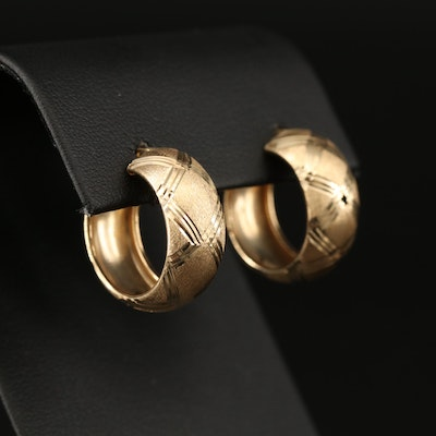 14K Hoop Earrings with Contrasting Diamond Cut Accents