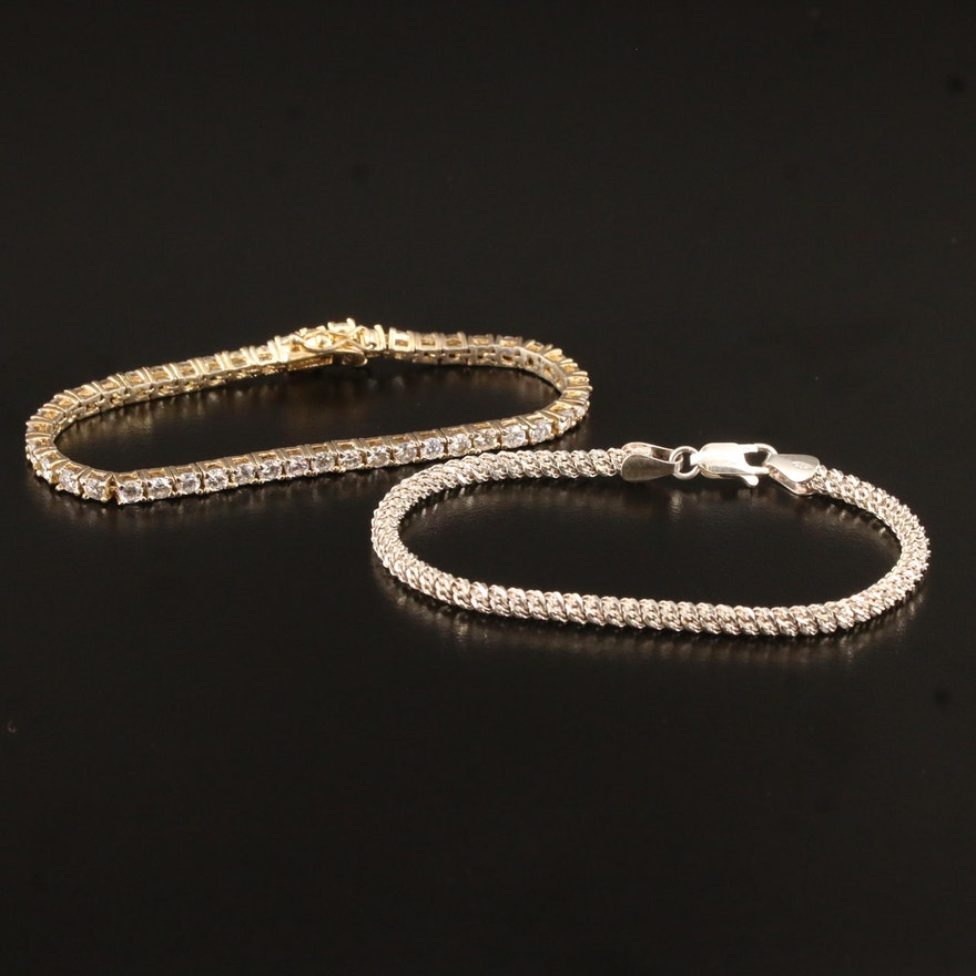 Diamond Cut Sterling Silver and Cubic Zirconia Bracelets