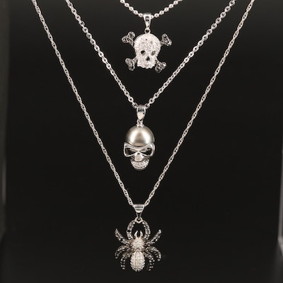 Sterling Pearl and Diamond Pendant Necklaces Featuring Skulls and Spider