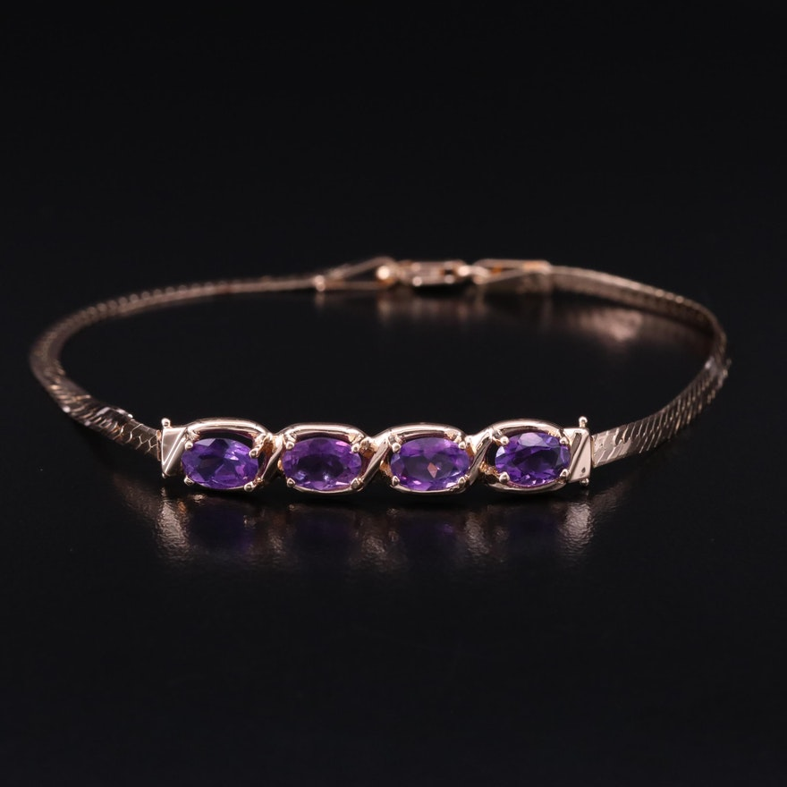 14K Amethyst Herringbone Link Bracelet