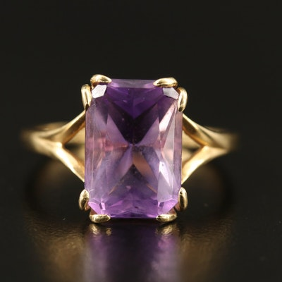 14K  Amethyst Ring with Scalloped Detail