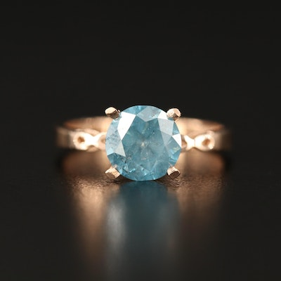 14K 2.19 CT Blue Diamond Solitaire Ring