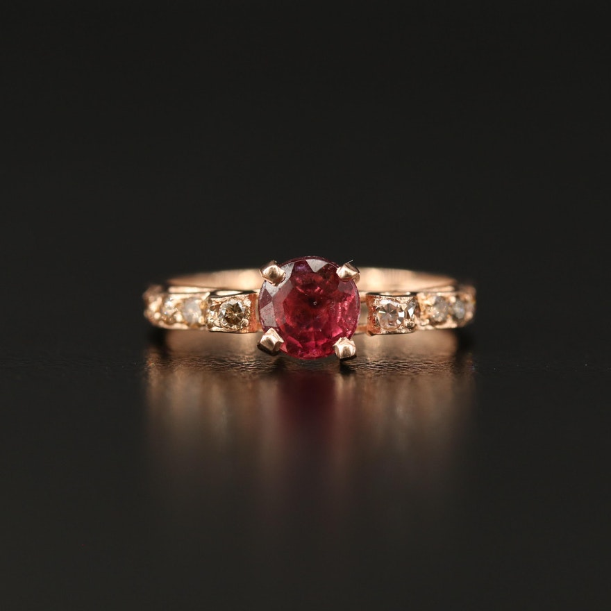 14K Tourmaline Ring with Diamond Shoulders