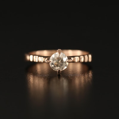 14K 0.50 CT Diamond Solitaire Ring with Ridged Shoulders