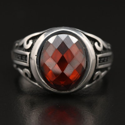 Sterling Silver Glass Textured Ring