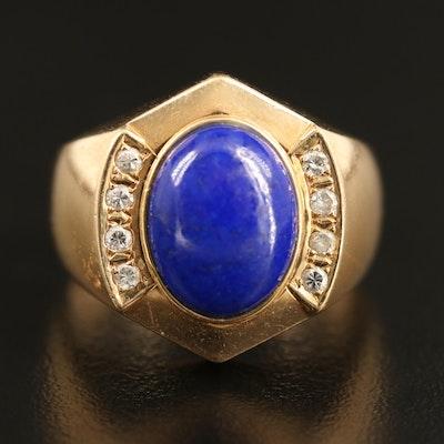 14K Lapis Lazuli, Diamond Ring