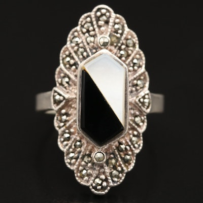 Sterling Silver Black Onyx, Mother of Pearl and Marcasite Navette Ring