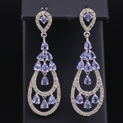 Sterling Silver Tanzanite and Sapphire Dangle Earrings