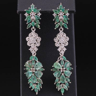 Sterling Emerald and Cubic Zirconia Earrings