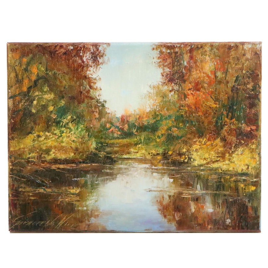 "Garncarek Aleksander Landscape Oil Painting ""October"", 2020"