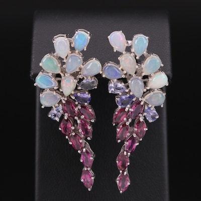 Sterling Opal, Garnet and Tanzanite Cluster Earrings